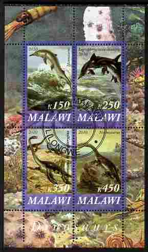 Malawi 2010 Dinosaurs #03 perf sheetlet containing 4 values fine cto used
