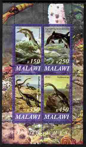 Malawi 2010 Dinosaurs #03 perf sheetlet containing 4 values unmounted mint