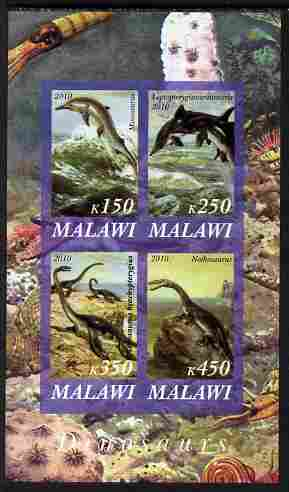 Malawi 2010 Dinosaurs #03 imperf sheetlet containing 4 values unmounted mint