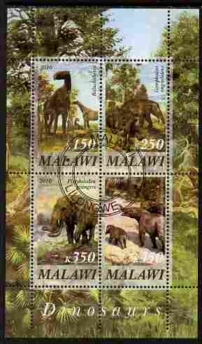 Malawi 2010 Dinosaurs #04 perf sheetlet containing 4 values fine cto used