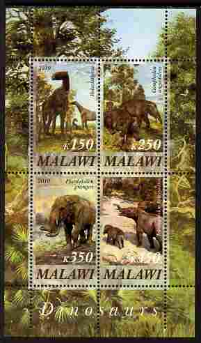 Malawi 2010 Dinosaurs #04 perf sheetlet containing 4 values unmounted mint