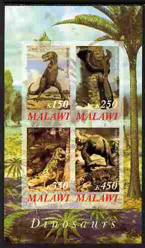 Malawi 2010 Dinosaurs #05 imperf sheetlet containing 4 values unmounted mint