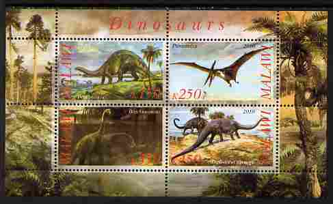 Malawi 2010 Dinosaurs #06 perf sheetlet containing 4 values unmounted mint