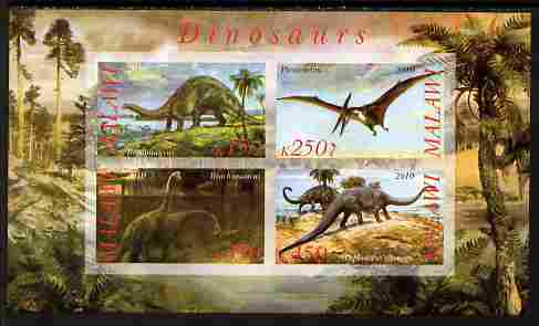 Malawi 2010 Dinosaurs #06 imperf sheetlet containing 4 values unmounted mint