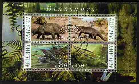 Malawi 2010 Dinosaurs #07 perf sheetlet containing 4 values fine cto used