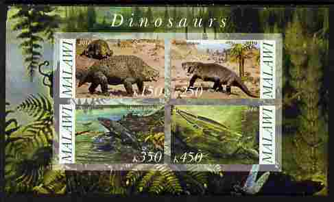 Malawi 2010 Dinosaurs #07 imperf sheetlet containing 4 values unmounted mint, stamps on dinosaurs