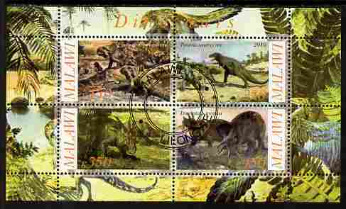 Malawi 2010 Dinosaurs #08 perf sheetlet containing 4 values fine cto used