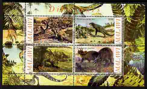 Malawi 2010 Dinosaurs #08 perf sheetlet containing 4 values unmounted mint