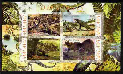 Malawi 2010 Dinosaurs #08 imperf sheetlet containing 4 values unmounted mint