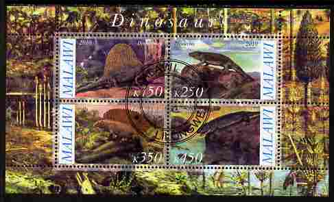 Malawi 2010 Dinosaurs #09 perf sheetlet containing 4 values fine cto used