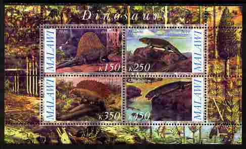 Malawi 2010 Dinosaurs #09 perf sheetlet containing 4 values unmounted mint