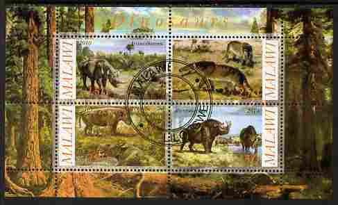 Malawi 2010 Dinosaurs #10 perf sheetlet containing 4 values fine cto used