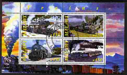 Malawi 2010 Steam Locomotives #01 perf sheetlet containing 4 values fine cto used