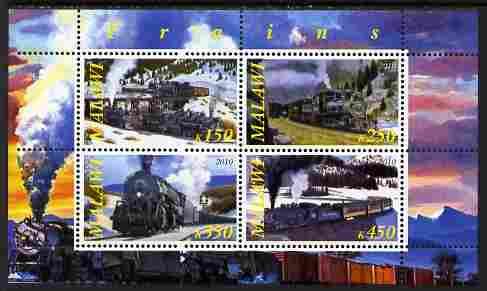 Malawi 2010 Steam Locomotives #01 perf sheetlet containing 4 values unmounted mint