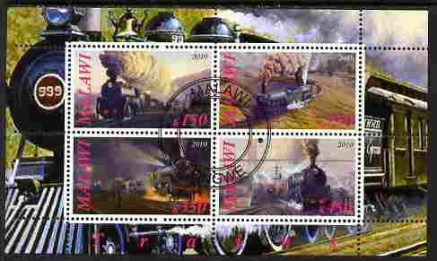 Malawi 2010 Steam Locomotives #02 perf sheetlet containing 4 values fine cto used