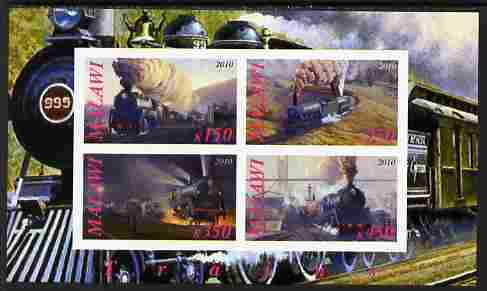 Malawi 2010 Steam Locomotives #02 imperf sheetlet containing 4 values unmounted mint