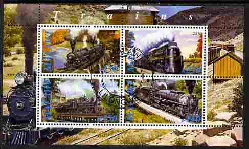 Malawi 2010 Steam Locomotives #03 perf sheetlet containing 4 values fine cto used