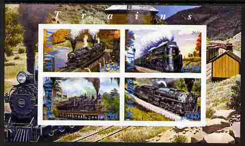 Malawi 2010 Steam Locomotives #03 imperf sheetlet containing 4 values unmounted mint