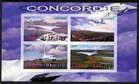 Malawi 2010 Concorde imperf sheetlet containing 4 values unmounted mint