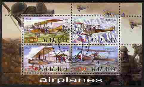 Malawi 2010 Military Aircraft of WW1 perf sheetlet containing 4 values fine cto used
