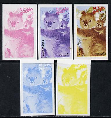 Oman 1974 Zoo Animals 2b (Koala Bears) set of 5 imperf progressive colour proofs comprising 3 individual colours (red, blue & yellow) plus 3 and all 4-colour composites unmounted mint