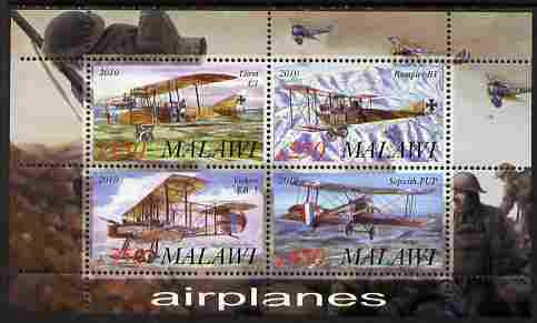 Malawi 2010 Military Aircraft of WW1 perf sheetlet containing 4 values unmounted mint
