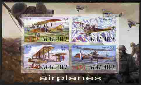 Malawi 2010 Military Aircraft of WW1 imperf sheetlet containing 4 values unmounted mint