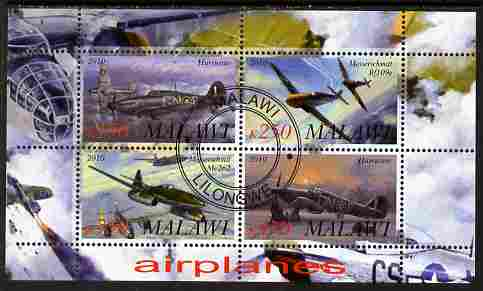 Malawi 2010 Military Aircraft of WW2 perf sheetlet containing 4 values fine cto used