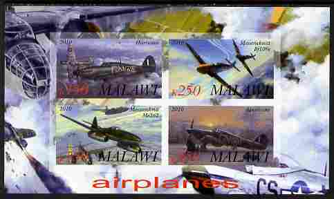 Malawi 2010 Military Aircraft of WW2 imperf sheetlet containing 4 values unmounted mint