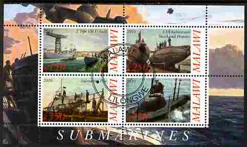 Malawi 2010 Submarines #01 perf sheetlet containing 4 values fine cto used