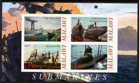 Malawi 2010 Submarines #01 imperf sheetlet containing 4 values unmounted mint