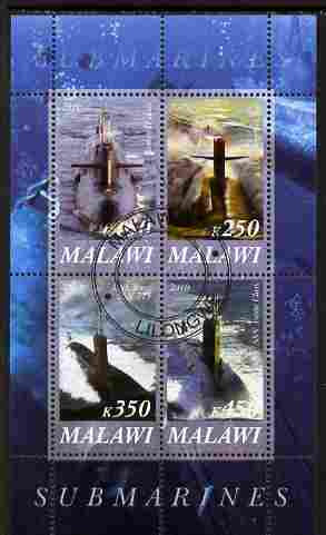 Malawi 2010 Submarines #02 perf sheetlet containing 4 values fine cto used