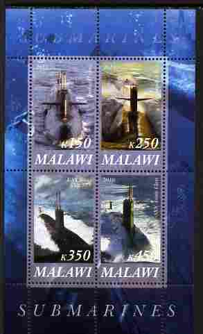 Malawi 2010 Submarines #02 perf sheetlet containing 4 values unmounted mint
