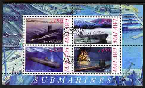 Malawi 2010 Submarines #03 perf sheetlet containing 4 values fine cto used