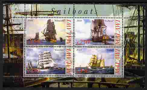 Malawi 2010 Tall Ships #01 perf sheetlet containing 4 values unmounted mint