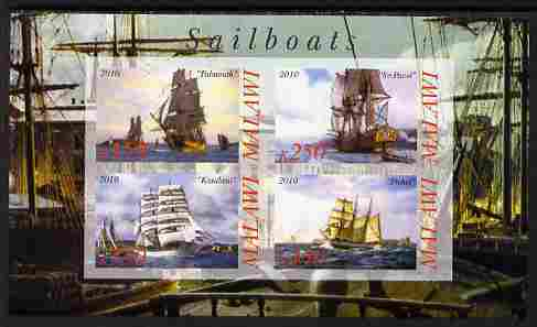 Malawi 2010 Tall Ships #01 imperf sheetlet containing 4 values unmounted mint