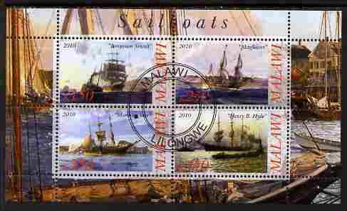 Malawi 2010 Tall Ships #02 perf sheetlet containing 4 values fine cto used