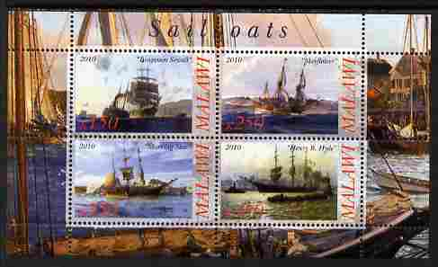 Malawi 2010 Tall Ships #02 perf sheetlet containing 4 values unmounted mint