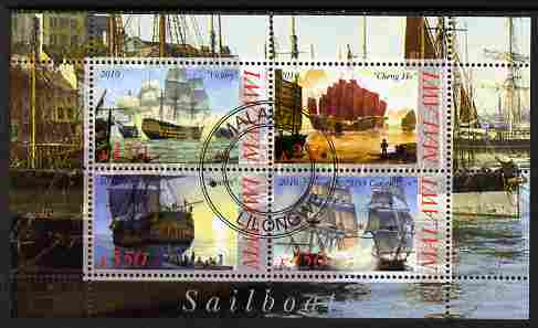 Malawi 2010 Tall Ships #03 perf sheetlet containing 4 values fine cto used