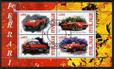 Malawi 2010 Sports Cars - Ferrari perf sheetlet containing 4 values fine cto used