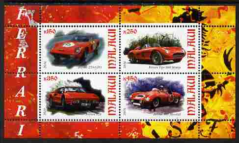 Malawi 2010 Sports Cars - Ferrari perf sheetlet containing 4 values unmounted mint