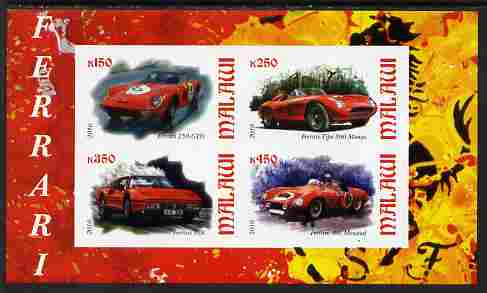 Malawi 2010 Sports Cars - Ferrari imperf sheetlet containing 4 values unmounted mint