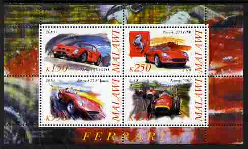 Malawi 2010 Cars #01 - Ferrari perf sheetlet containing 4 values unmounted mint
