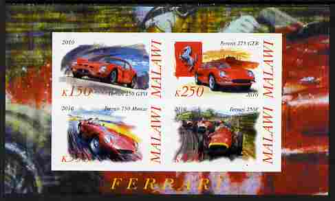 Malawi 2010 Cars #01 - Ferrari imperf sheetlet containing 4 values unmounted mint