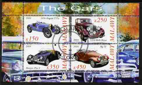 Malawi 2010 Cars #02 - Bugatti, Rolls Royce, MG & Morgan perf sheetlet containing 4 values fine cto used