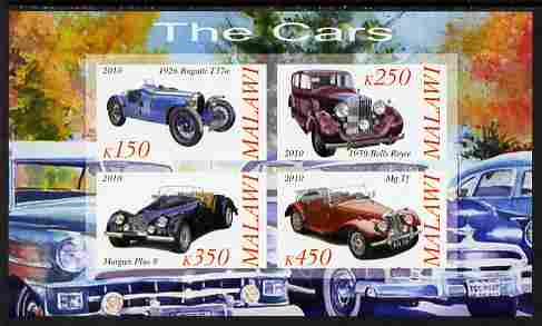 Malawi 2010 Cars #02 - Bugatti, Rolls Royce, MG & Morgan imperf sheetlet containing 4 values unmounted mint