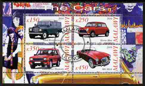 Malawi 2010 Cars #03 - Land Rover, Morris Mini & MG perf sheetlet containing 4 values fine cto used