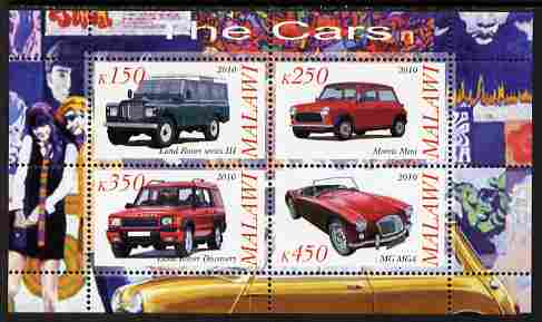 Malawi 2010 Cars #03 - Land Rover, Morris Mini & MG perf sheetlet containing 4 values unmounted mint
