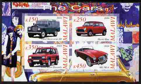 Malawi 2010 Cars #03 - Land Rover, Morris Mini & MG imperf sheetlet containing 4 values unmounted mint