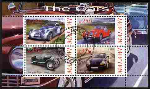 Malawi 2010 Cars #04 - Porsche & Morgan perf sheetlet containing 4 values fine cto used